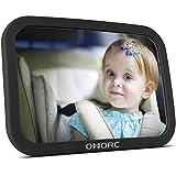 OMorc Miroir Voiture Bébé Retroviseur de Surveillance Pour Siège Arrière Rotation 360°Fonction d'Inclinaison Miroir Auto Bébé en Sécurité (30×19 cm)