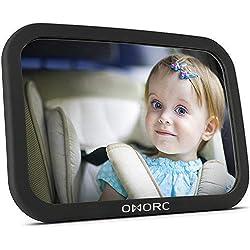 OMorc Miroir Auto Bébé Rétroviseur de Surveillance Bébé pour Siège Arrière Miroir de Voiture pour Bébé en Sécurité avez une Rotation 360°