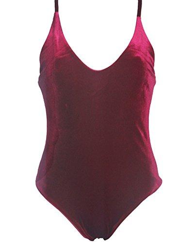 Damen Neckholder Bikini Optimizer Flacher Bauch Badeanzug Burgunder Rot