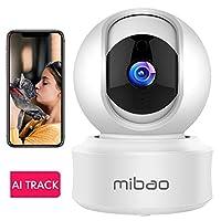 1080P Camaras De Vigilancia WiFi Interior Mibao Camara Vigilancia, HD Visión Nocturna, Detección de Movimiento Remoto, Alarma de Correo Electrónico, Audio Bidireccional, Monitor para Bebe/Perros