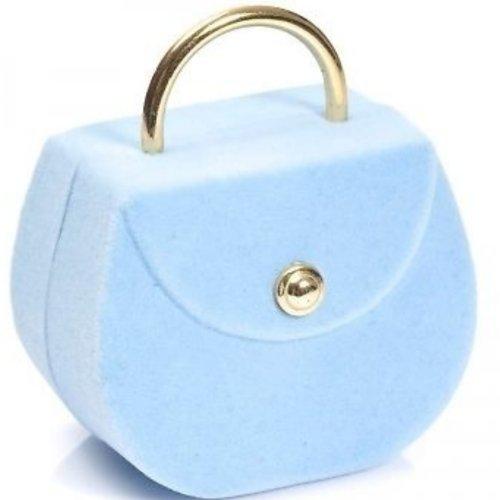 , Hellblau, Kleine Handtasche Ring Halskette Schmuckdose (Clearance Großhandel)