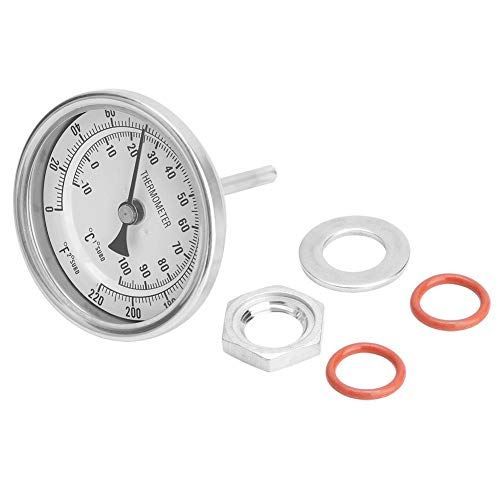 Cafopgrill Bimetall-Thermometer Bierthermometer Kit Weldless Bi-Metall Homebrew Kettle 1/2MNPT 0~220F für Homebrew Bier- und Weinthermometer