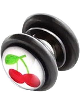 bkwear 1 Stück Fake Plug M139 kla Kirschen Magnet Verschluss Ohrring Edelstahl Acryl 8 mm ohne, 10 mm mit Gummiring...
