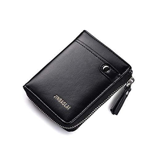 YCX Herren Geldbörse, Casual Reißverschluss Geld Clip Card Bag Mode Multifunktions Leder Geldbörse,Black,12x2.5x9.5CM -