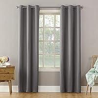 "Sun Zero Becca Energy Efficient Grommet Curtain Panel, 40"" x 95"", Gray"
