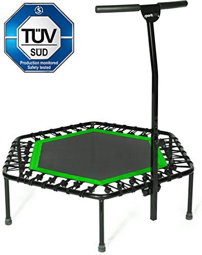 SportPlus Fitness Trampolin, Bungee-Seil-System, Ø 110 cm, bis 130 kg Benutzergewicht, TÜV Süd Sicherheit geprüft, grün