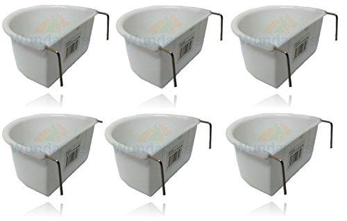 Lot de 6 mangeoiresWundapets - 11cm - En plastique - Pour cage de perruche ou perroquet