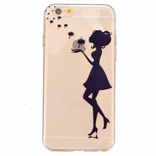 iPhone 6 Hülle, iPhone 6s Schutzhülle, MUTOUREN Handyhülle Case Cover TPU Silikontasche Transparent Ultra dünne Gel Anti-scratch hinten Tasche Etui Bumper Weiß - Mädchen und Löwenzahn