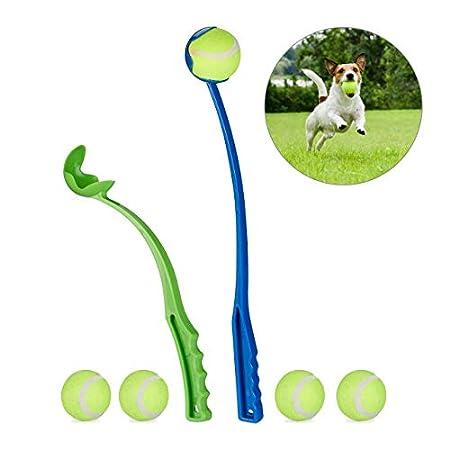 Relaxdays Hundespielzeug Ballschleuder 2er Set + 5 Bälle