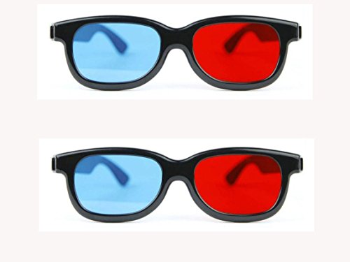 Mintus 3D Glasses Cyan Red Anaglyph 3D Glasses Pack of 2 Video Glasses (Black)  available at amazon for Rs.149