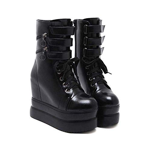 Martin Boots Frauen 12Cm Keil Ferse 5,5 cm Dicke Plattform Cross Riemen Knöchel Bootie Runde Zehen Aufzug Schuhe Roma-Schuhe EU-Größe 34-39,Black,39EU (Keil Aufzug)