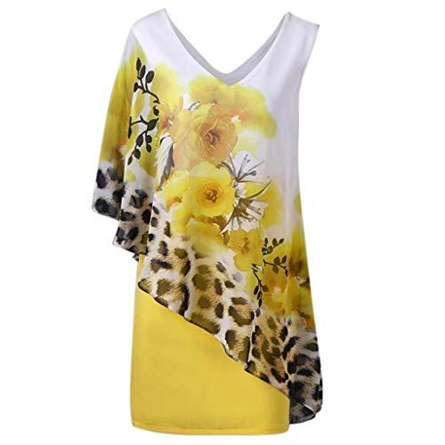 The Women's Printed Sleeveless V-Neck Irregular Shirt Kleider Sommer Sexy Damen Pullover für Party UK Plus Größe 36-44