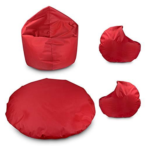 byufya Sitzsack Bodenkissen 2 in 1 100cm Durchmesser Rot mit Füllung Sitzbag Kissen Kinder Sessel...