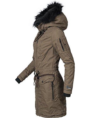 Khujo Damen Winter Mantel Baumwoll Parka YM-Anastina Grün Gr. S (Jacke Kapuzen Mantel Down-winter)