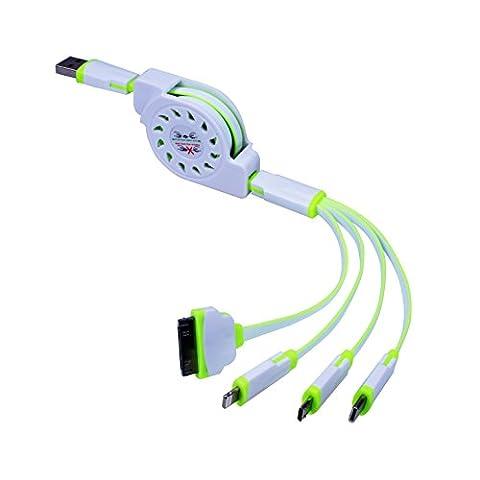 Multi Ladegerät, Einziehbare 4 in 1 Mehrere USB Ladekabel Adapter Stecker mit Typ C / 8 Pin Beleuchtung / 30 Pin / Micro USB-Anschlüsse für iPhone 7 7 Plus, OnePlus 3 und Mehr