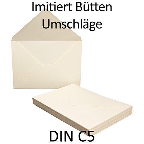 50x DIN C5 Briefumschläge mit Wellenschnitt // 162 x 229 mm – 110 g/m² // Weiß Matt // Nassklebung // Qualitätsmarke: GUSTAV NEUSER