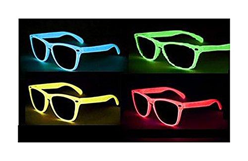 NERD Glow Brillen LEUCHTEN BEI NACHTS versch. Farben (Blau klarglas B5-3)