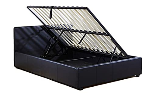 Aspire Home Small Double Side Lift Ottoman Storage Bed, 4 ft, Black