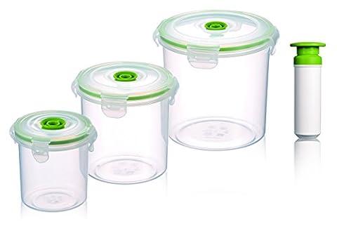 vacuumSaver air&liquid tight plastic food storage canisters. Set of 3 round + pump. Sizes: 0.4L, 1L,