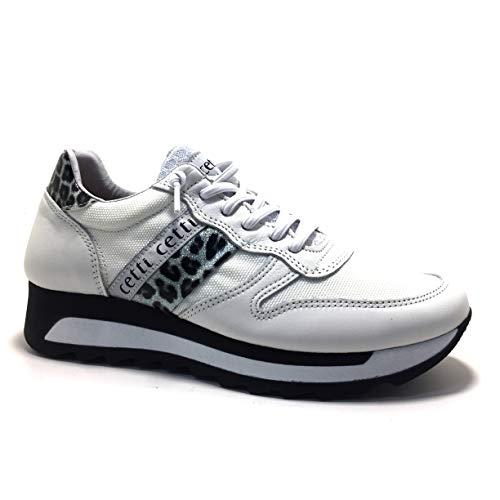 CETTI C847, Sneakers, Mujer, Color Blanco - Textil/Piel