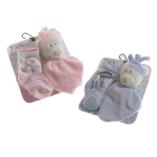 Cute Baby 2Stück Socken mit Schmusetuch Bär von Tick Tock (6 Stück Tröster)