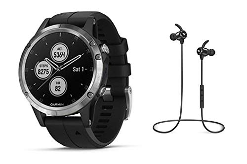 Garmin GPS-Multisport-Smartwatch Fenix 5 Plus - 47mm – Music-Player mit 500 Songs - 24/7 Herzfrequenzmessung am Handgelenk, vorinstallierte Sport-Apps, integriertes GPS, Mobile Payment via NFC, inkl. Bluetooth Headset - Armband: schwarz , Gehäusegröße: 47mm, Gehäusefarbe: Silber/Schwarz