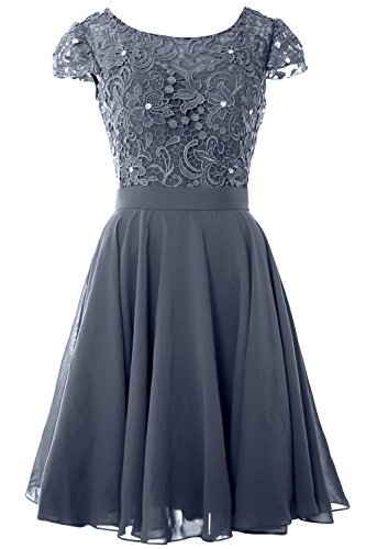 MACloth Women Cap Sleeve Mother of the Bride Dress Lace Short Formal Party Gown Steel Blue