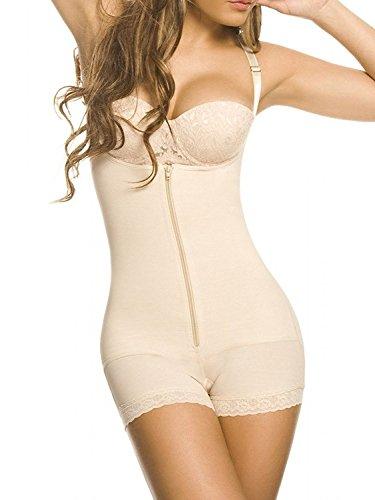 YIANNA Damen Shapewear offene nahtlos Büste Bodysuit Korsett Taillenformer Figurformender Body Shaper Beige, UK-YA7102-Beige-S (Thong Bodysuit Shaper)