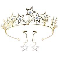 Frcolor Corona di capelli di cristallo con orecchino Fasce per la cerimonia  nuziale Copricapo di strass 37b569cc10c2