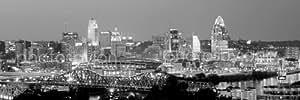 """Cincinnati Skyline Au Coucher du Soleil Noir Blanc & BW City Downtown 36 x 12 """"("""" Poster Photo Panoramique Imprimé Photo de taille Standard"""
