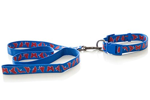 WPS Nylon Gurtband Hund Leine mit Passendem Halsband, Blau Web Material mit Schmetterling Print Design-Bonus Knochenform-Kotbeutel-Spender -