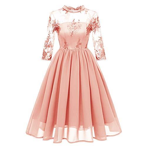 MIRRAY Damen O-Ausschnitt Vintage Prinzessin Blumenspitze Cocktail Party Aline Swing Kleid