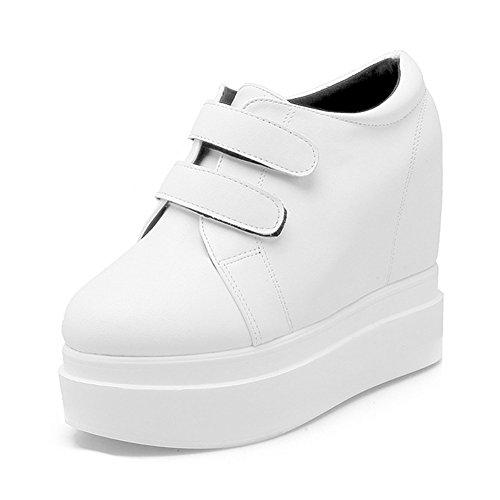 Ladola Damen Rein Plateau Klettverschluss Weiß Anderes Leder Stiefel - 35 EUR