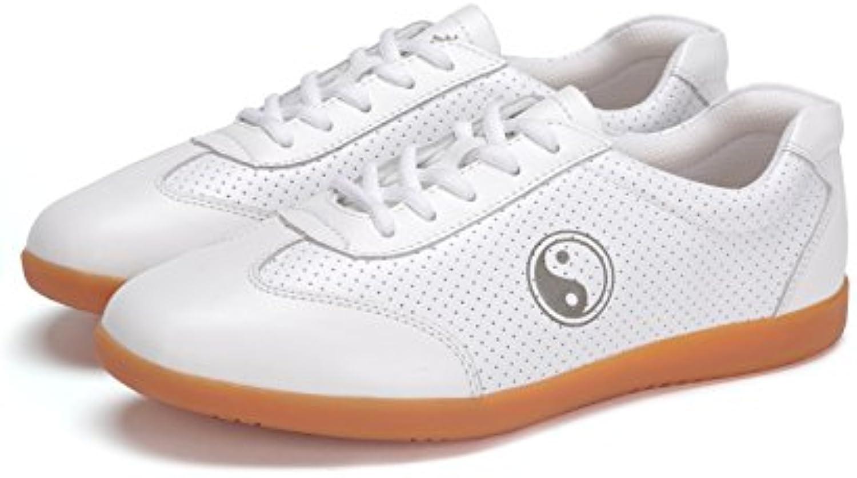 ICNBUYS Hombres de transpirable piel Kung Fu Tai Chi zapatos de verano blanco  -