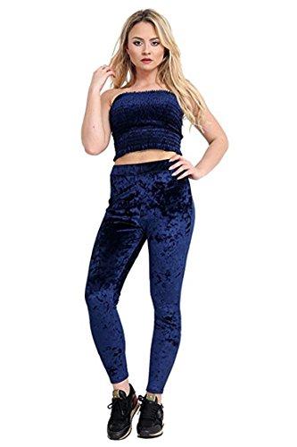 Friendz Trendz-Womens Crushed velours Crop & Legging Loungewear Survêtement deux pièces Navy