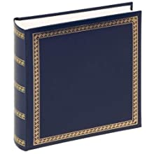 walther design MX-103-L Das Schicke Dicke artificial leather book bound album with gold embossing, 10.2 x 9.8 inch (26 x 25 cm), 100 white pages, blue
