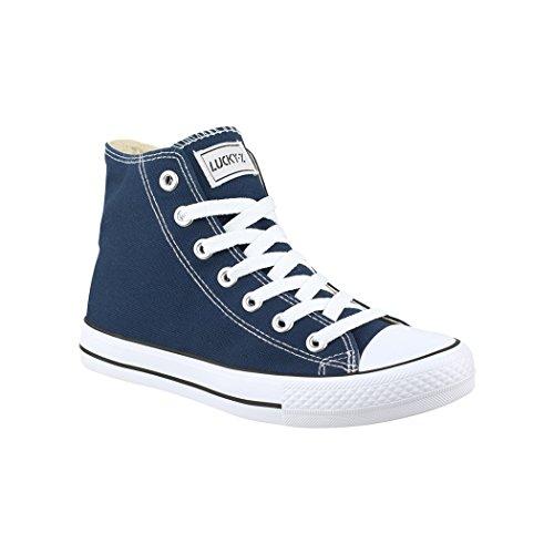 Elara Unisex Kult Sneaker | Bequeme Sportschuhe für Damen und Herren | High Top Textil Schuhe|Chunkyrayan Farbe, Dunkelblau, 44 EU