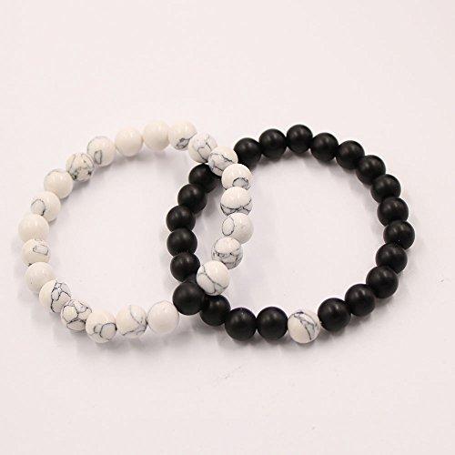 Paar Distanz Armbänder für Liebhaber-2 Stück Schwarz Matte Achat & Weiß Howlite 8mm Perlen von UEUC (Black Matte Achat)