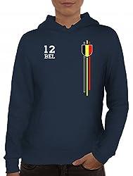 ShirtStreet Belgium Belgique World Cup Fussball WM Fanfest Gruppen Damen Hoodie Frauen Kapuzenpullover Streifen Trikot Belgien, Größe: L,Navy