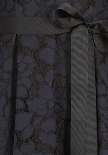 Spitzenkleid V-Ausschnitt nachtblau-schwarz