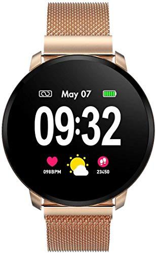 Naack Naack Smartwatch / Fitness-Armband für Damen, wasserdicht, SchutzartIP68, Pulsmesser, Schlafüberwachung, Stoppuhr, Kalorienzähler, goldfarben, iOS und Android