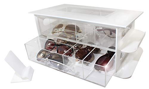 Estellani® Großer Organizer Malibu mit 2 Schubladen für Brillen, Sonnenbrillen, Lesebrillen, Brillenbox, Brillen Aufbewahrung, Display für Brillen
