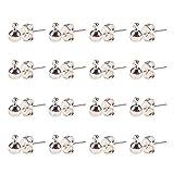 Componenti di post orecchino in ottone del colore argento, nickel free, Dimensioni: circa 4 mm di larghezza, 16 mm di lunghezza, Foro: 1 mm, pin: 0.8 mm