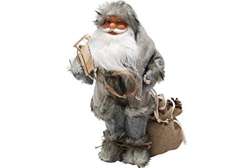 LD Weihnachten Deko Weihnachtsmann 60 cm nordisch grau mit Schlitten Santa Claus Nikolaus DEKO Figur