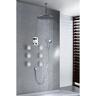 acgosp Chrome Finish Moderne Thermostat LED Digital Display 40,6cm rund Duschkopf + Handbrause
