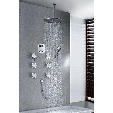 Chrome Finish Moderne Thermostat LED Digital Display 40,6cm rund Duschkopf + Handbrause (Delta Bronze Duschkopf)