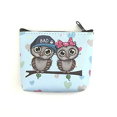 TAOtTAO Owl Purse Damenmode Einfache Retro Owl Printing Short Geldbörse Kartenhalter Handtasche (C)