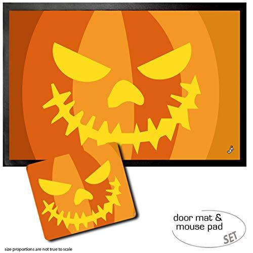 Set: 1 Fußmatte Türmatte (60x40 cm) + 1 Mauspad (23x19 cm) - Halloween, Kürbis-Gesicht