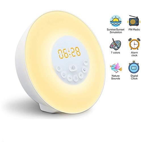 Wake Up Licht,Lichtwecker Sonnenaufgang Wecker für Kinder Aufwachen Licht USB Wecker Licht mit Sonnenaufgang/Sonnenuntergang Simulation, FM-Radio, Schlummer Funktion, Regenbogenfarben