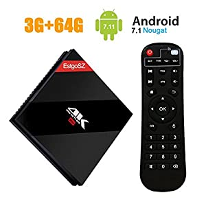[2018 TV BOX 3+64GB] EstgoSZ Upgrade-Version Android 7.1 Smart BOX 3G +64G Amlogic S.912 Octa Core 64 Bits mit Dual Band WiFi Bluetooth 4.1 /3D/4K
